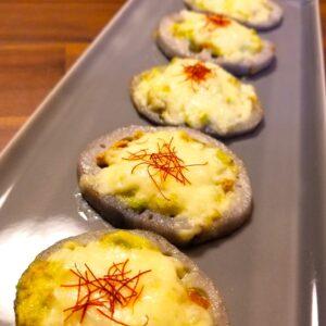 焼きレンコンのアボカド是好醤マヨのチーズ焼き